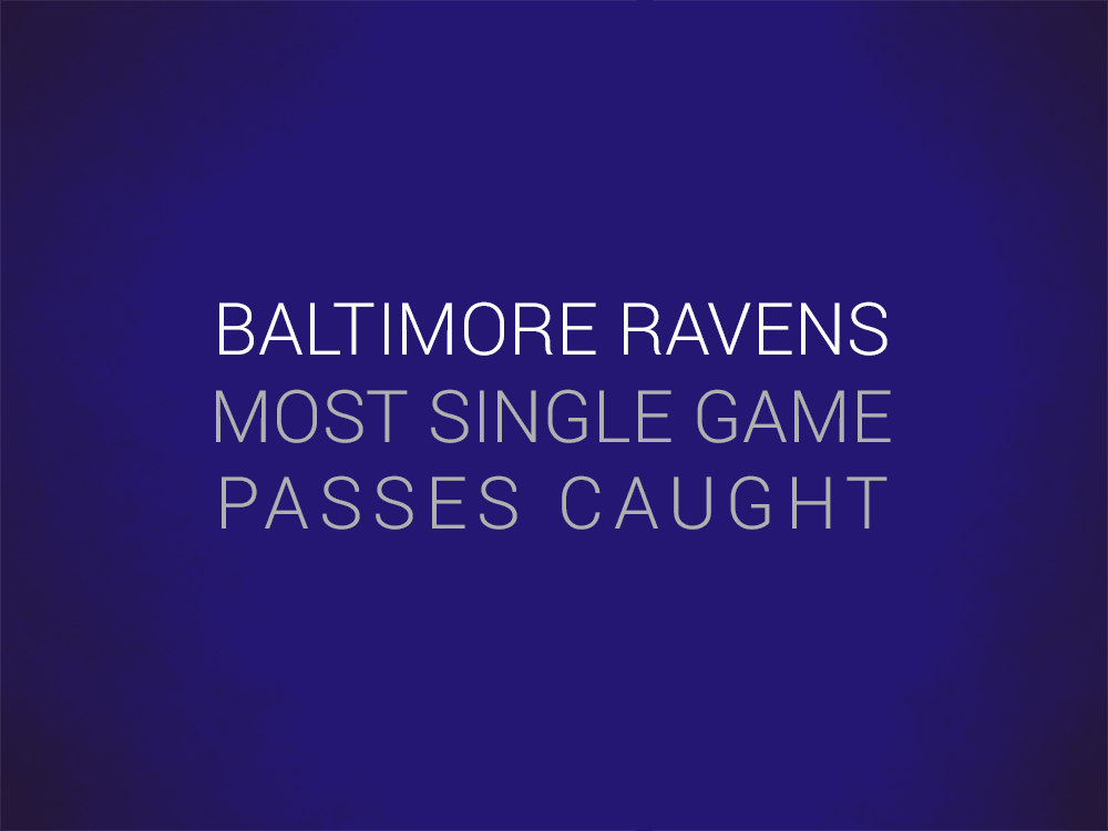 Priest Holmes Baltimore Ravens Records: Single Game Passes Caught | Priest Holmes Records | The Numbers | Baltimore Ravens Records
